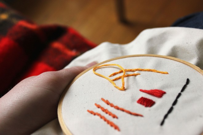 French Knot Step 5 Embroidery Tutorial