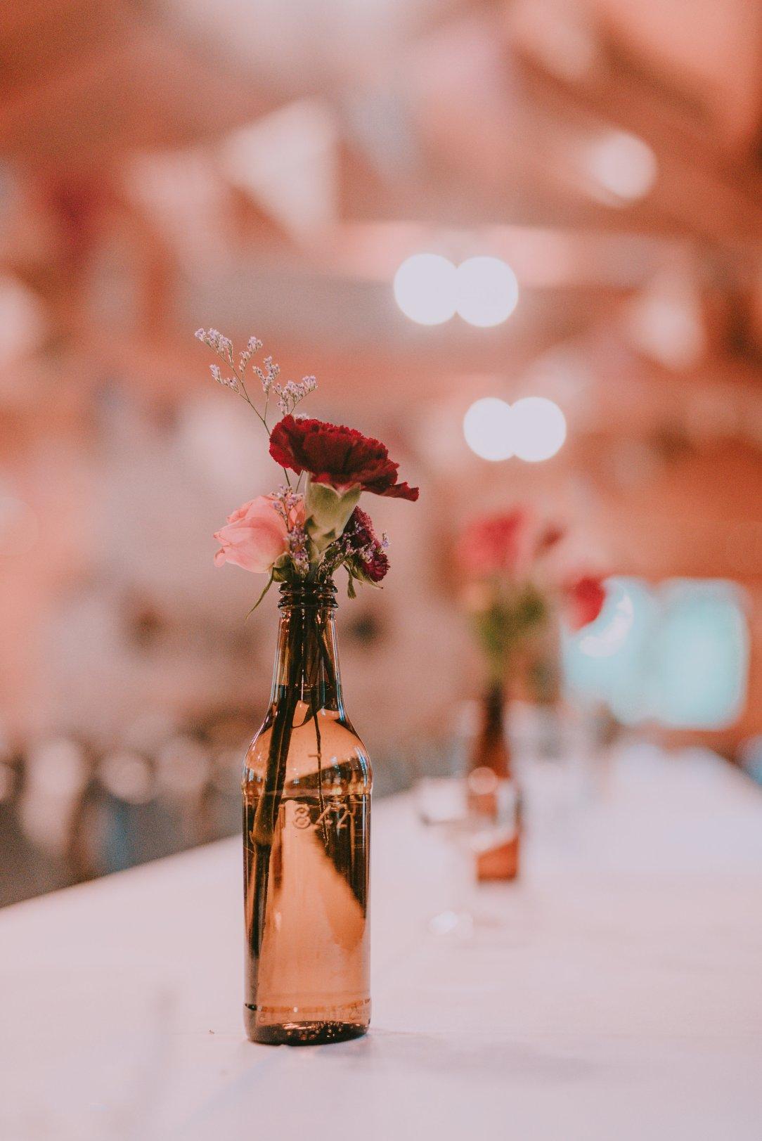 Brown Glass Wedding Flowers
